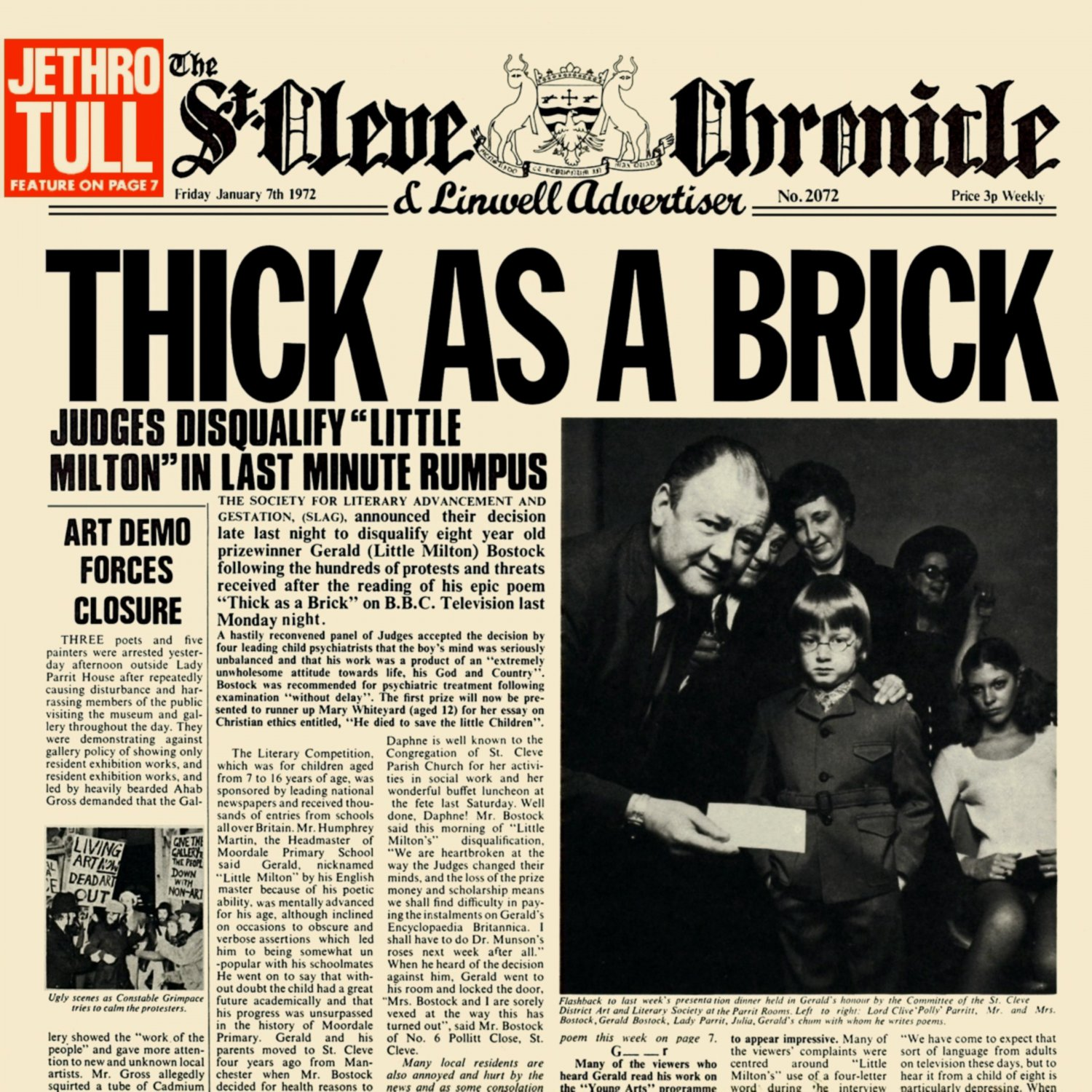 JETHRO TULL Thick as a Brick BANNER Huge 4X4 Ft Fabric Poster Tapestry Flag Print album cover art