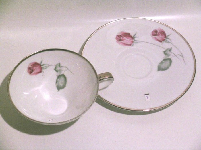 American Beauty rose fine porcelain HUTSCHENREUTHER Bavaria Selb Germany #1 teacup & saucer PASCO