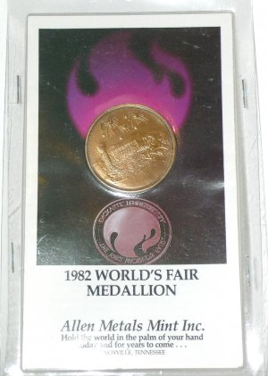 """1982 World's Fair Medallion Knoxville, TN Tenn. Tennessee Theme: """"Energy Turns the World"""""""
