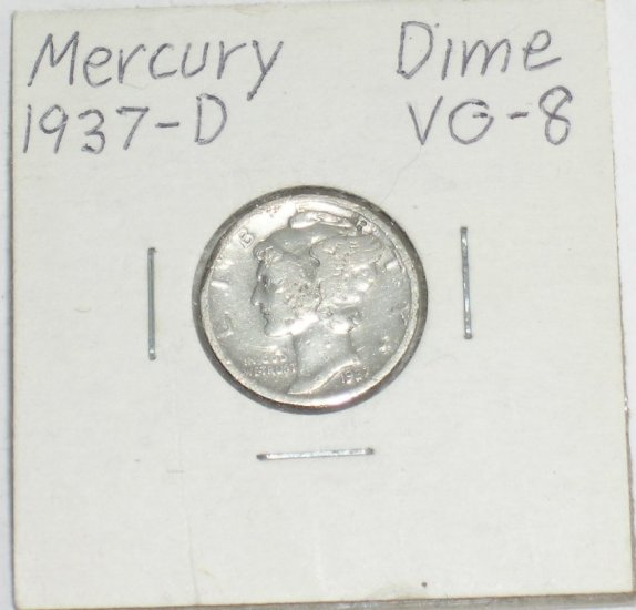 �Mercury' Dime 10 ¢ 1937-D  90 % silver US Coins Great Depression era of 1930's & 40's.