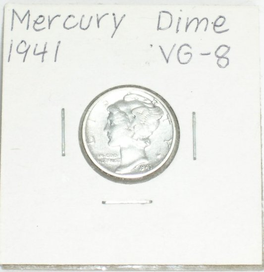 �Mercury' Dime 10 ¢ 1941-P  90 % silver US Coins Great Depression era of 1930's & 40's.