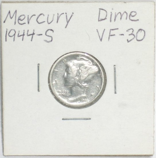 �Mercury' Dime 10 ¢ 1944-S  90 % silver US Coins WWII World War 2 Great Depression