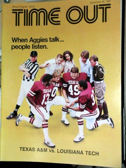 Texas A&M Aggie Football Program LA Tech Sep 26 1981 Kyle Field