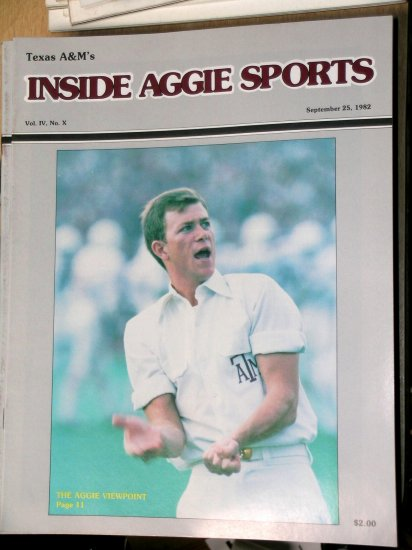 Jackie Sherrill Texas A&M Football Inside Aggie Sports Vol IV, No. X September 25, 1982