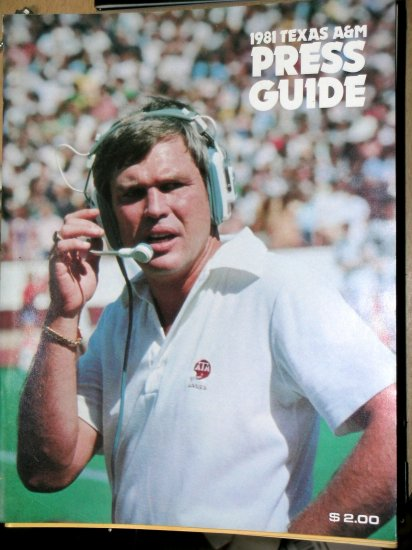 Texas A&M Aggie Football TAMU Press Guide Tom Wilson 1981