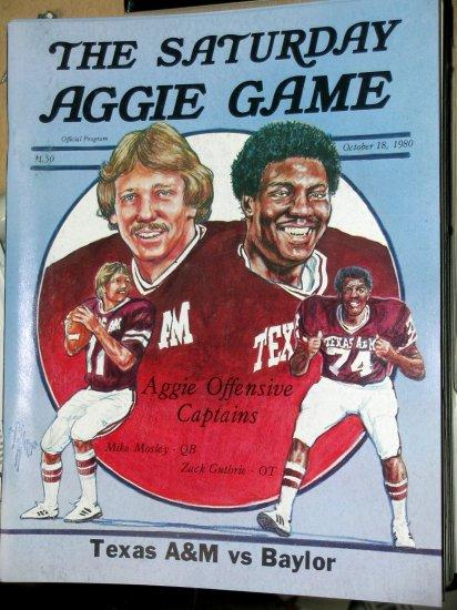 Texas A&M Aggie TAMU Football Program Baylor Bears The Saturday Aggie Game October 18, 1980