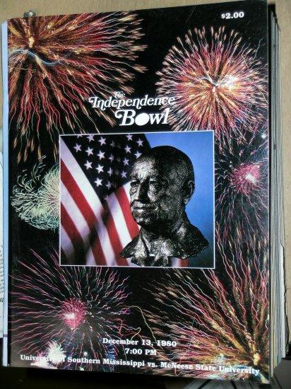 The Independence Bowl December 13, 1980 Southern Mississippi vs McNeese State Univ Shreveport, LA