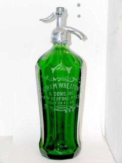 7-Up Green Seltzer Bottle 10 panel sides Hiram Wheaton & Sons New Bedford Mass.