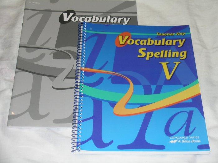 Homeschool Abeka Vocabulary Spelling V Grade 11 Quiz Key & Teacher Key Lot of 2 books