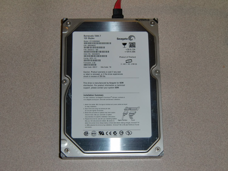 Seagate Barracuda 7200.7 120GB SATA  Hard Drive for satellite receiver. Model # ST3120026AS