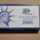 2001 S US Mint Proof Set 10 coins Original Box COA state quarters NY NC RI VT KY