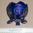IG Imperial Glass Carnival COBALT Blue Aurora Jewels 3 Toed Footed bowl Floral