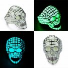 Stainless Steel Mens Skull Rings Luminous Glow In The Dark Ring Jeweller Bikers