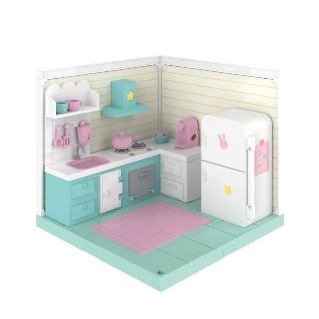 DIY Sweet Wooden Miniature Doll House KITCHEN