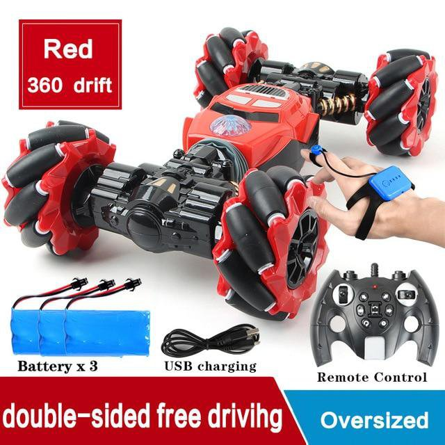 RC 4WD Radio Control Stunt Car Toy RED WITH WATCH REMOTE