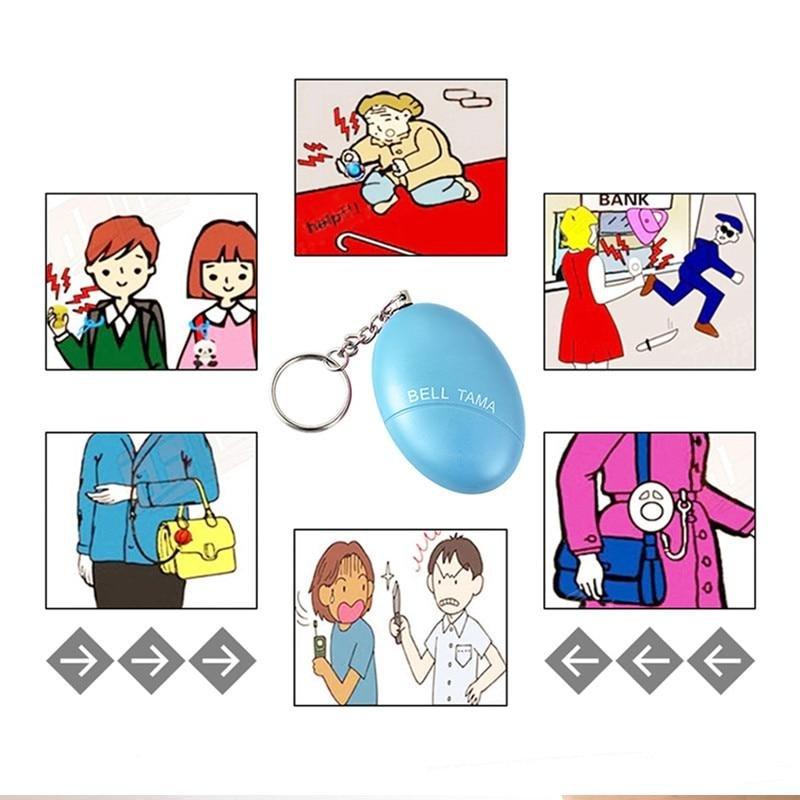 Self Defense Alarm Egg Shape Keychain
