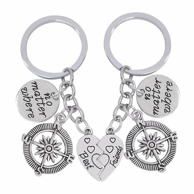 Couple Lovers Keychain NO MATTER WHERE BEST FRIENDS