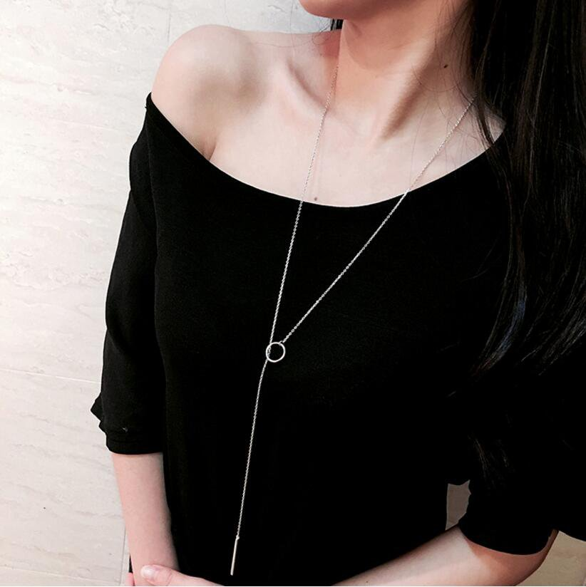 Circle Strip Long Chain Necklace