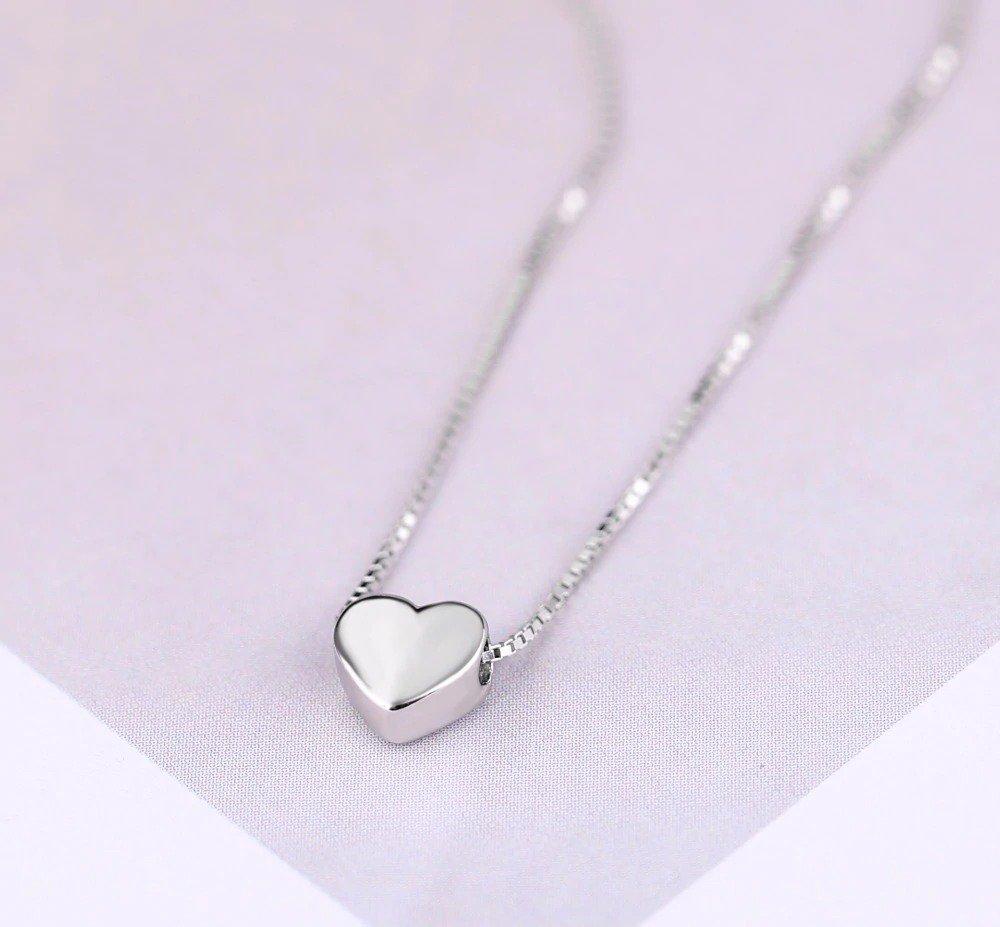 Silver Color Love Heart Necklace