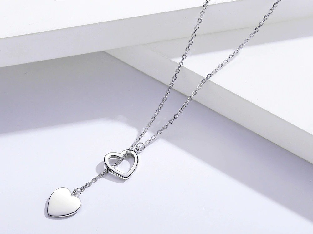 Double Heart Fine Silver Pendant Necklace