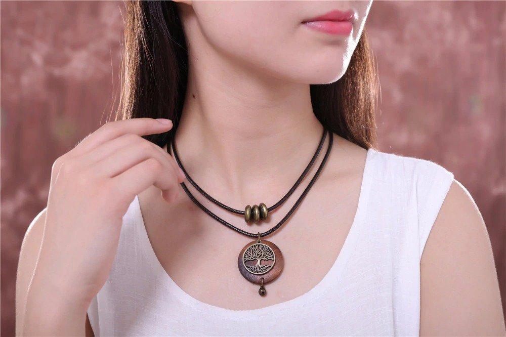 Vintage Tree Design Wooden Pendant Necklace