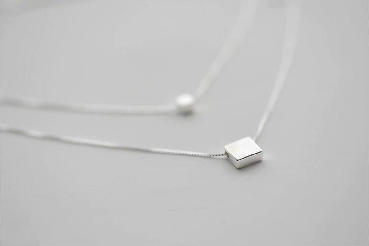 Double Layer Square Box Silver Color Necklace