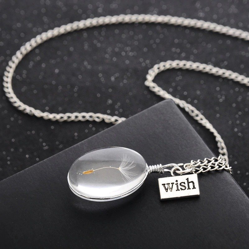 Natural Dandelion Round Crystal Pendant Necklace