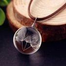 Dandelion Glass Ball Pendant Necklace
