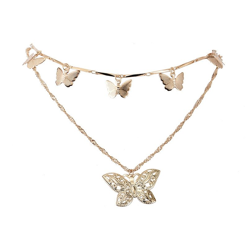 Double Layer Butterfly Gold Color Pendant Necklace