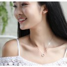 Crystal Box Cube Silver Color Pendant Necklace