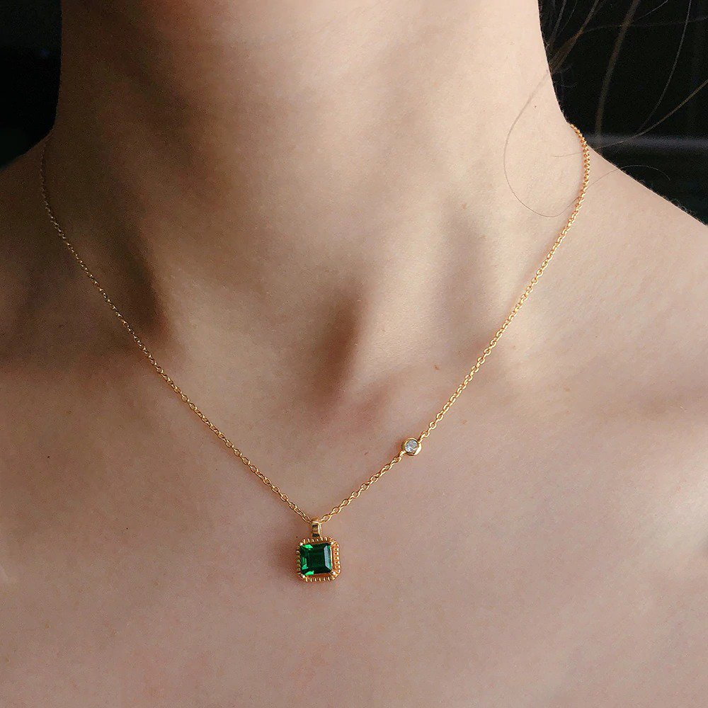 Sterling Silver Synthetic Emerald Necklace