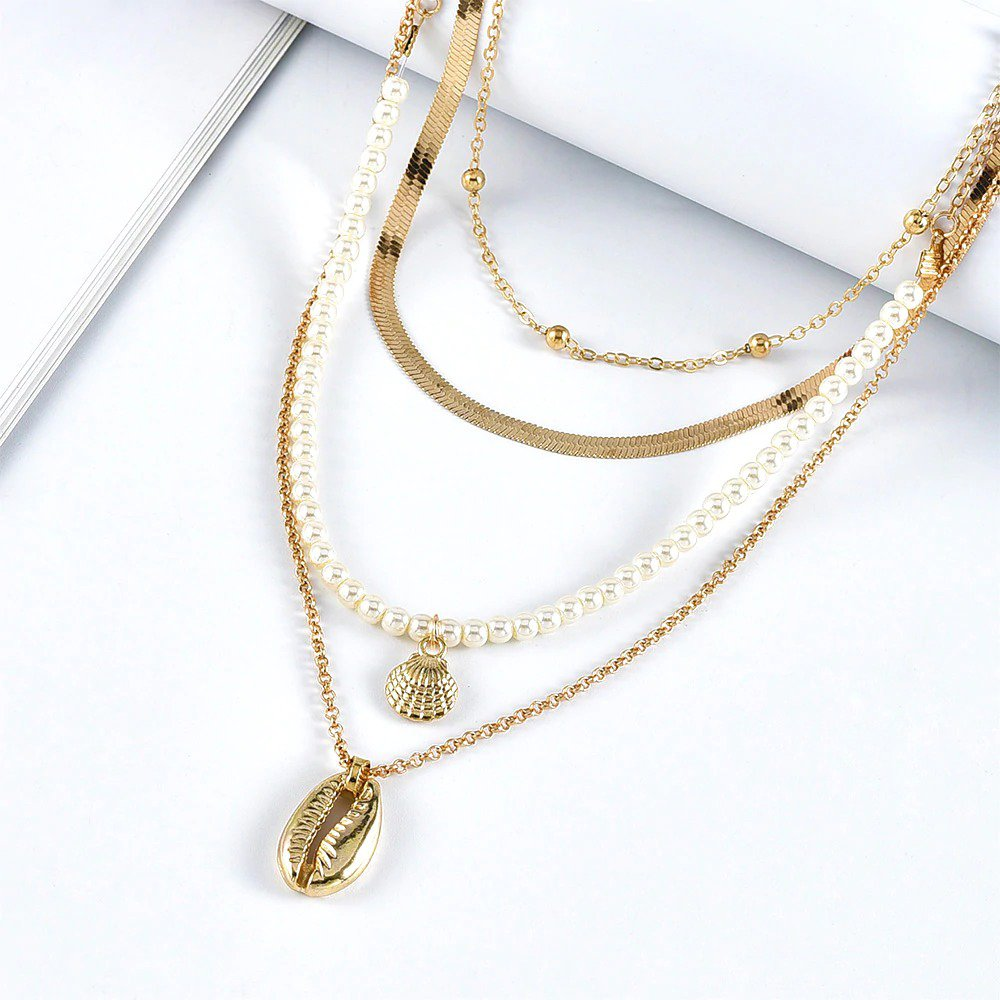 Faux Pearl Snake Chain Shell Gold Color Pendant Necklace
