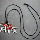 Vintage Red Beans Retro Leaf Necklace