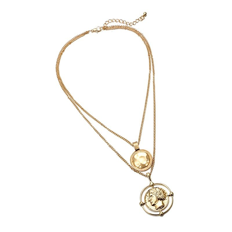 Large Round Coin Pendant Necklace