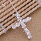 Ablaze Cross Silver Color Pendant Necklace