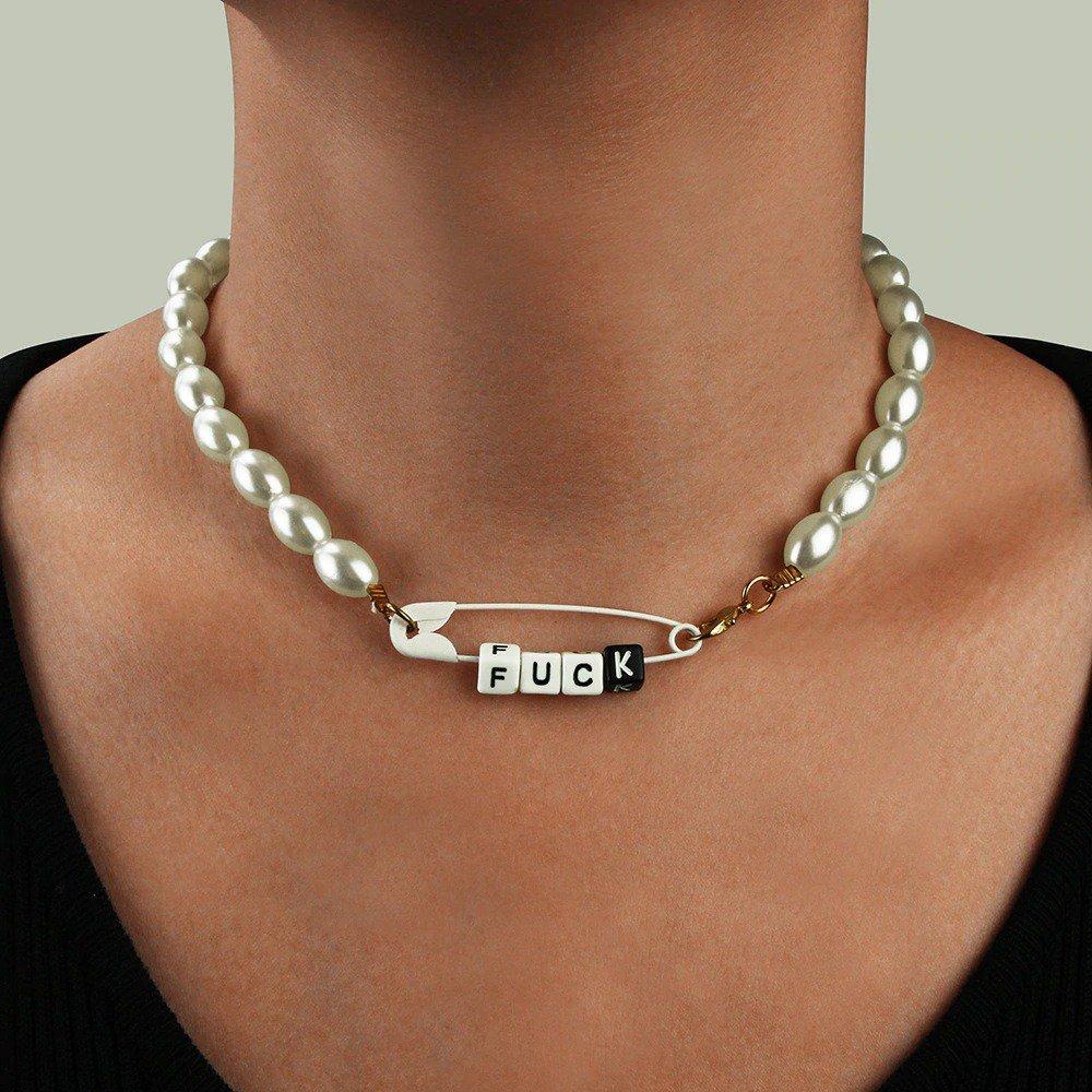 Vintage Paper Clip Letters Pearl Necklace