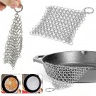 Silver Stainless Steel Chainmail Scrubber For Home Cookware
