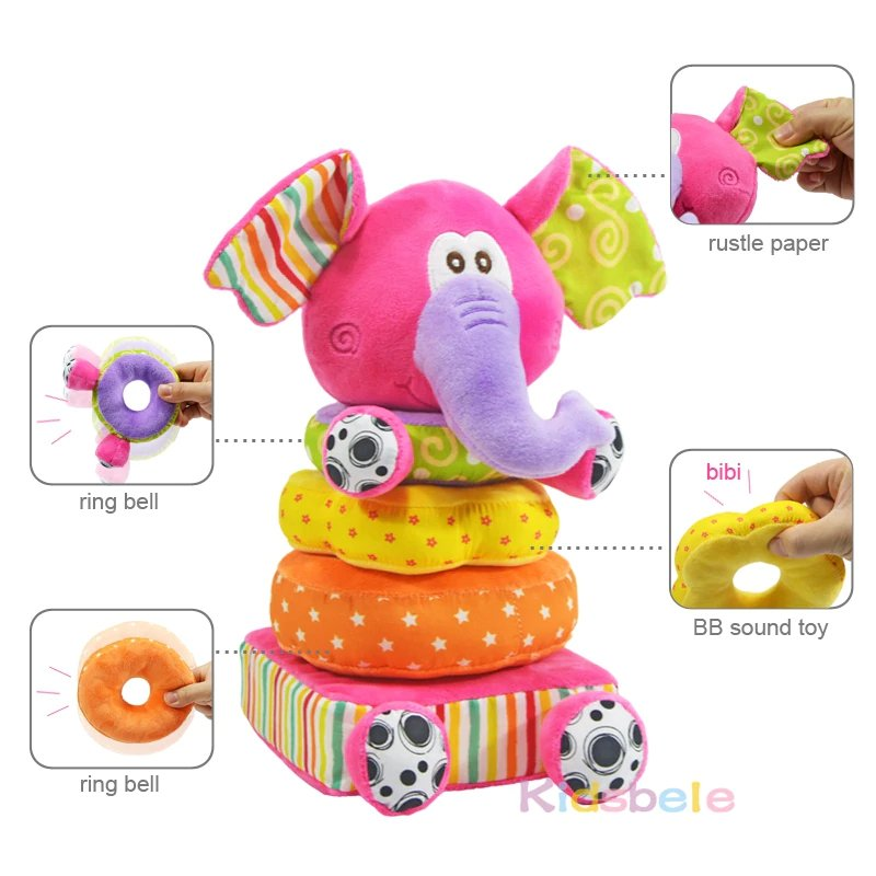 Soft Pink Elephant Stackable Plush Toy