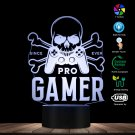 Pro Gamer Skull Gamepad LED Table Lamp