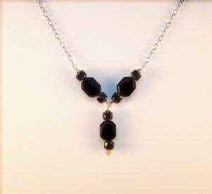 "Jet Black Swarovski ""Y"" necklace"
