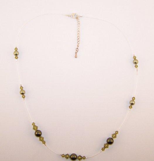 Olivine Swarovski Crystal and Pearl adjustable necklace