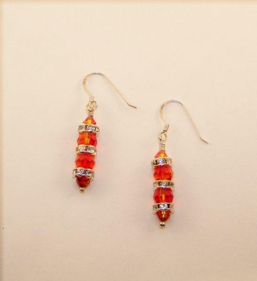 Swarovski Crystal Round Column Fire Opal Earrings