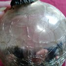 Vintage Christmas Ornament Kugel Large Heavy Thick Glass Silver Crackle