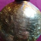 Vintage Christmas Ornament Kugel Round Heavy Thick Crackle Glass Gold