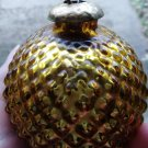 Vintage Christmas Ornament Bumpy Kugel Round Heavy Thick Glass Gold