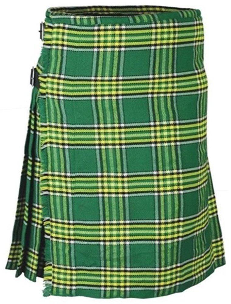 Irish National Men's 8 Yard Scottish Kilt Size 38 Waist Highland Tartan Kilt Casual Pleated Skirt