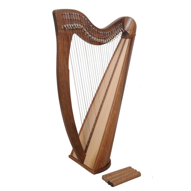 Rosewood 28 String Claddagh Harp Walnut, Irish Lever Harp, Celtic Irish Harp