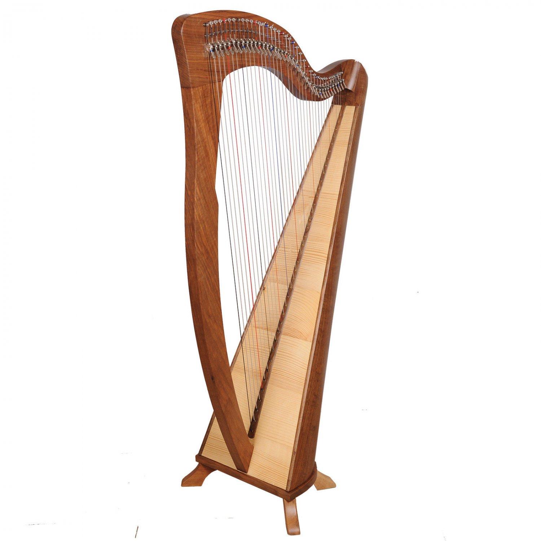 Rosewood 38 String Harp Walnut, Celtic Irish harp with Lever