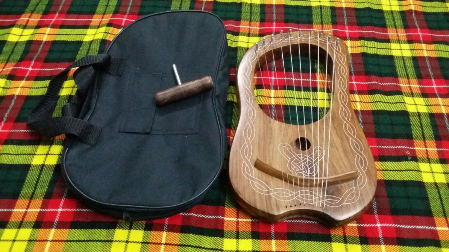 Traditional Irish Lyre Harp 10 Metal Strings Rosewood Free Carrying Case & Keys