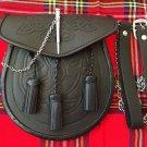 Full Dress Leather Kilt Sporran Black Bovine with Scottish Thistle Cantle